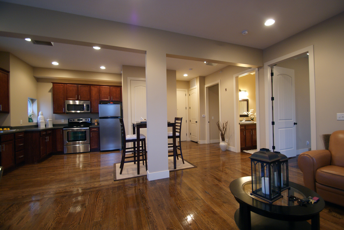 spacious open kitchen and living space with direct views to downtown Omaha.jpg