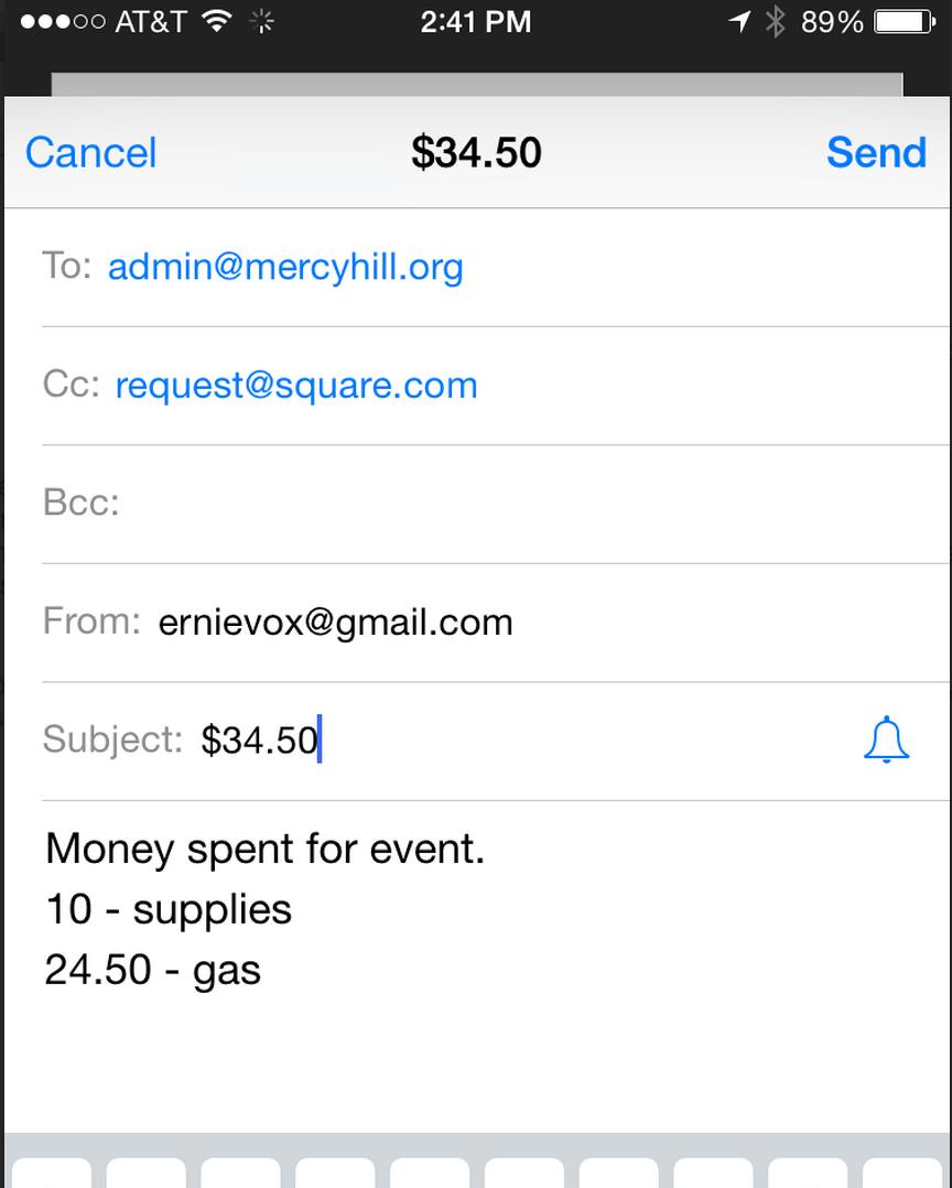 Screenshot Example of Email Reimbursement Request