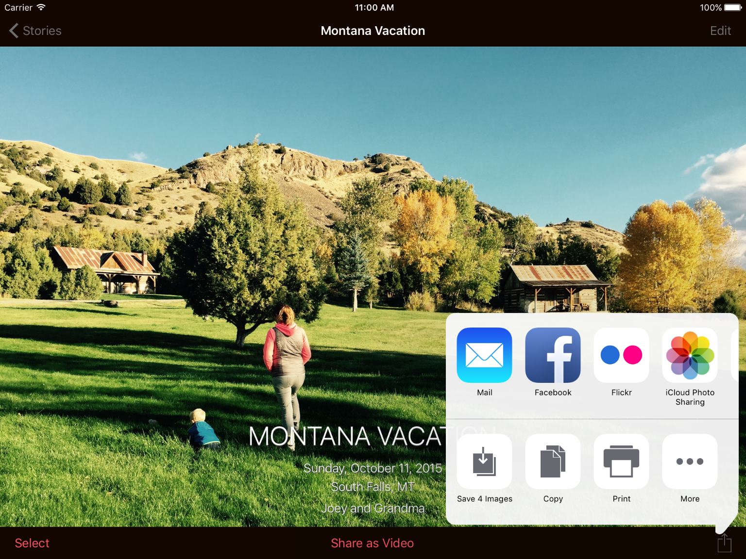 Share your photos across social networks, text message, and mail