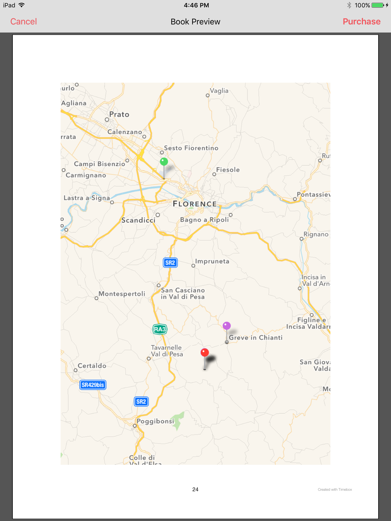 When you print your stories as a hardcover book, PDF ebook,or on your own home printer, Timebox adds a map on the last page with a summary of the locations of all of your stories.