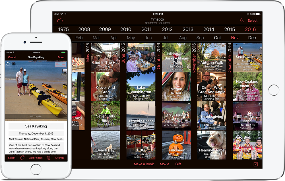 The Timebox photo journal app for iPhones and iPads