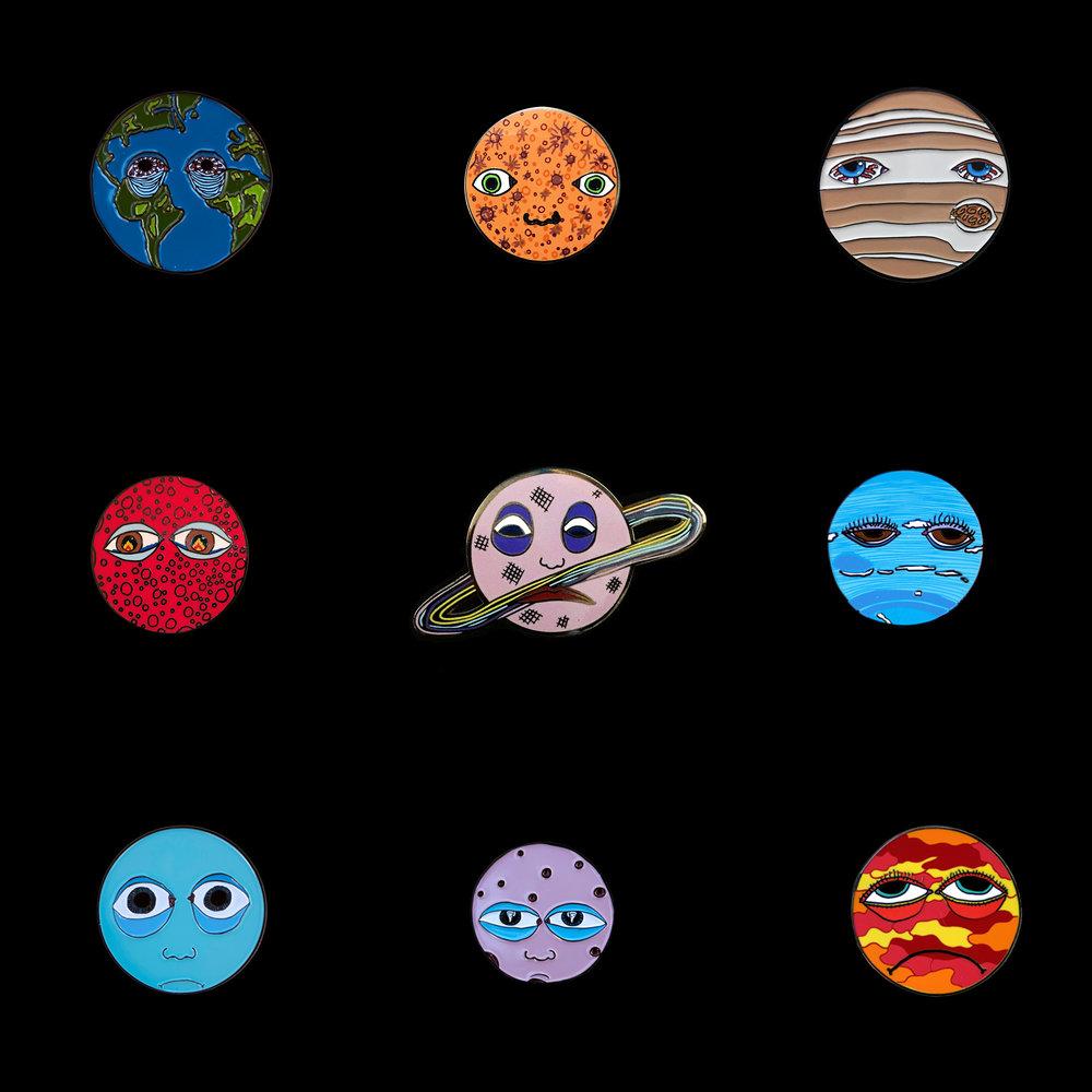 All Nine Sad Planet Enamel Pins  $75 (U.S. shipping included)
