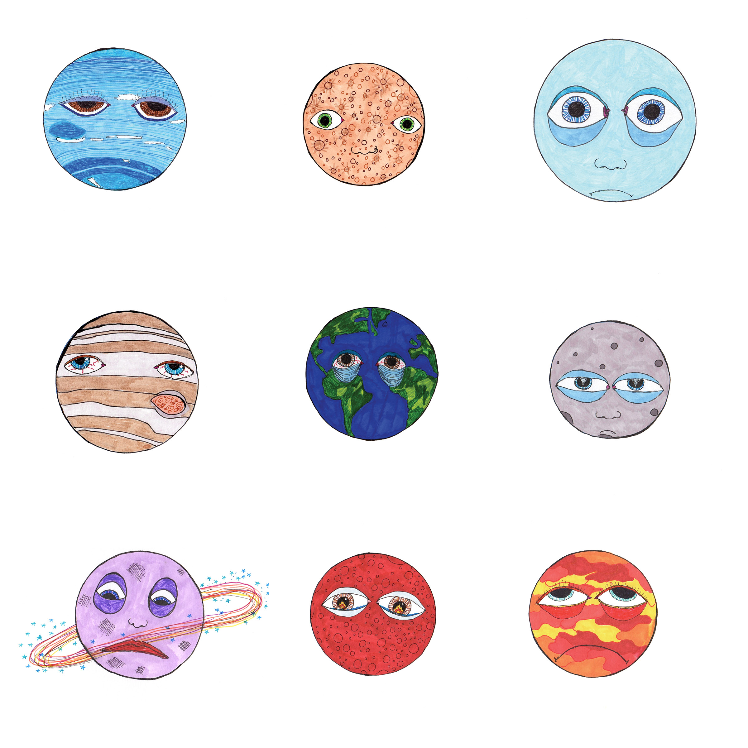 """""""A Series of Sad Planets""""  8x8 Limited edition giclee print on hot press water color paper  $35 per planet (Specify which planet in check out notes. U.S. shipping included)  ROW 1 left to right -Neptune, Mercury, Uranus. ROW 2 - Jupiter, Earth, Pluto. ROW 3 -Saturn, Mars, Venus.  Contact Leahwellbaum@gmail.com for deals on multiples or entire set."""