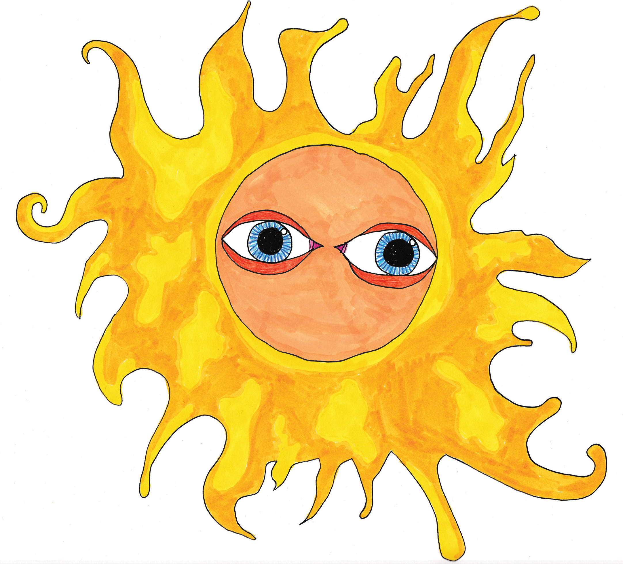 """""""Sad Sun"""" print  8x8 Limited edition giclee print on 8x8 hot press water color paper  $35 (U.S. shipping included)"""
