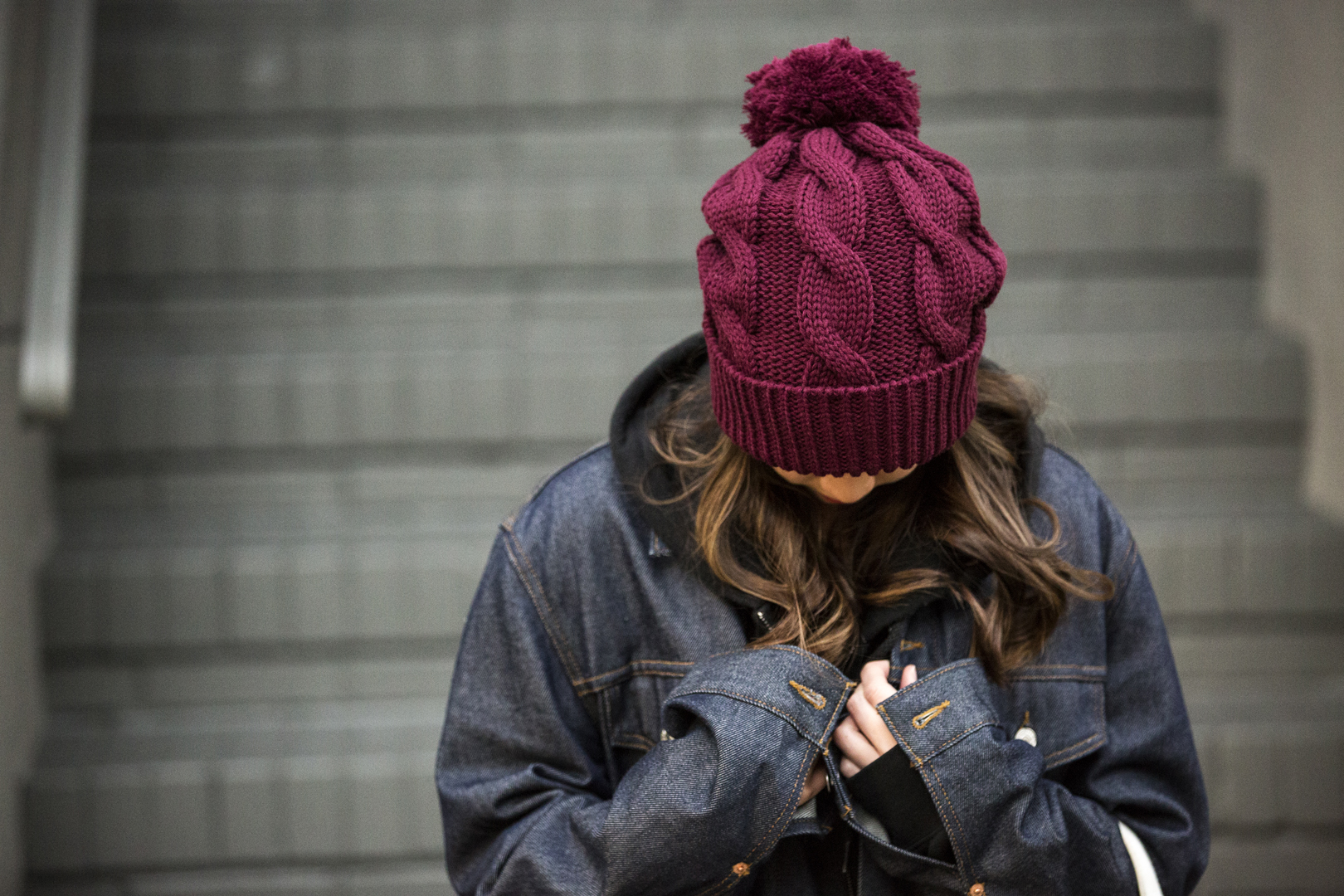 c02 Chunk Twist Pom Beanie  //  Burgundy | SF Stairs