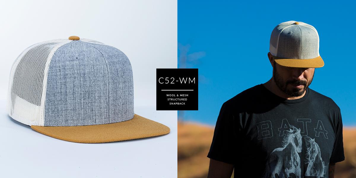 C52-WM // 6 Panel Trucker - Wool & Mesh | Snapback
