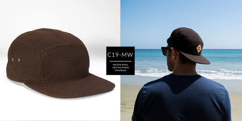 7a04c3f7badaa2 C19-MW // Custom 5 Panel - Melton Wool // Strapback