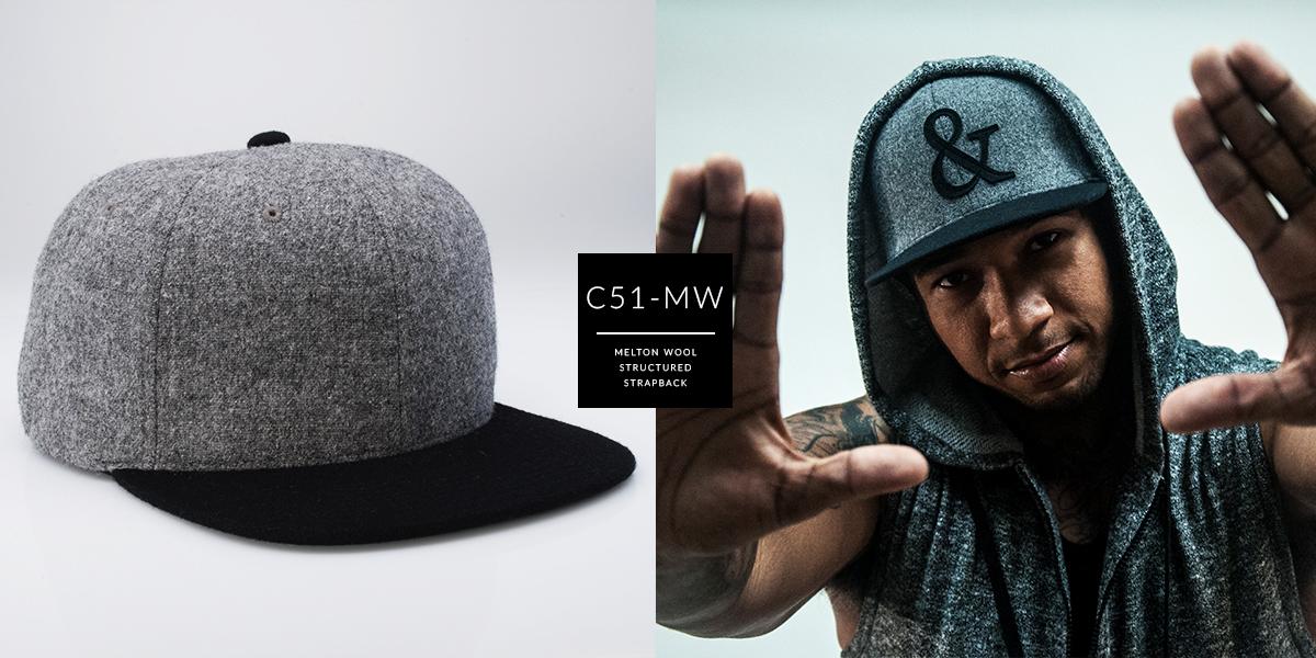 C51-MW // 6 Panel - Melton Wool // Strapback
