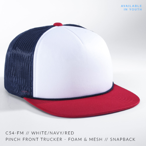 C54-FM // White/Navy/Red