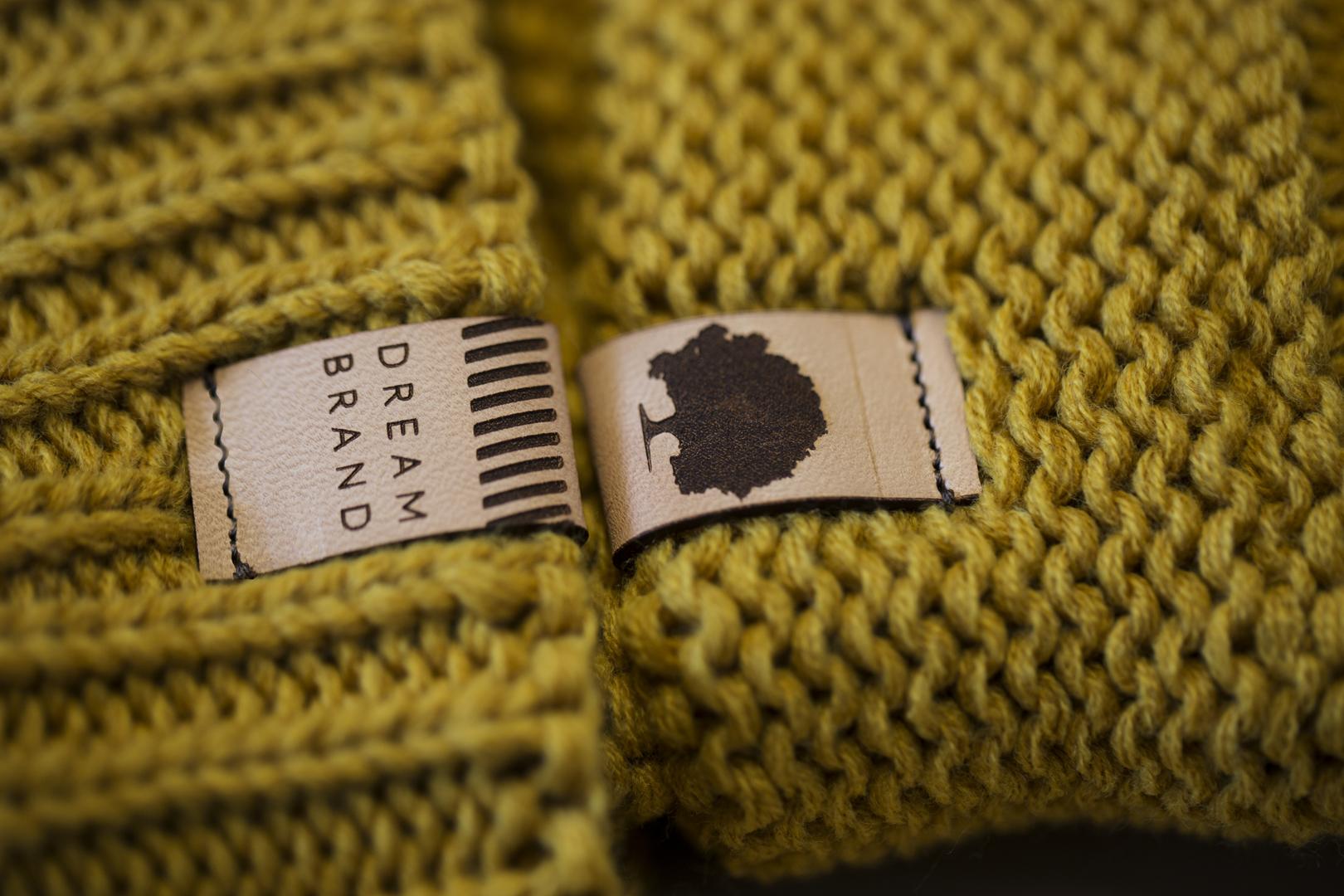 Custom Scrunch Beanie Clip Leather Label