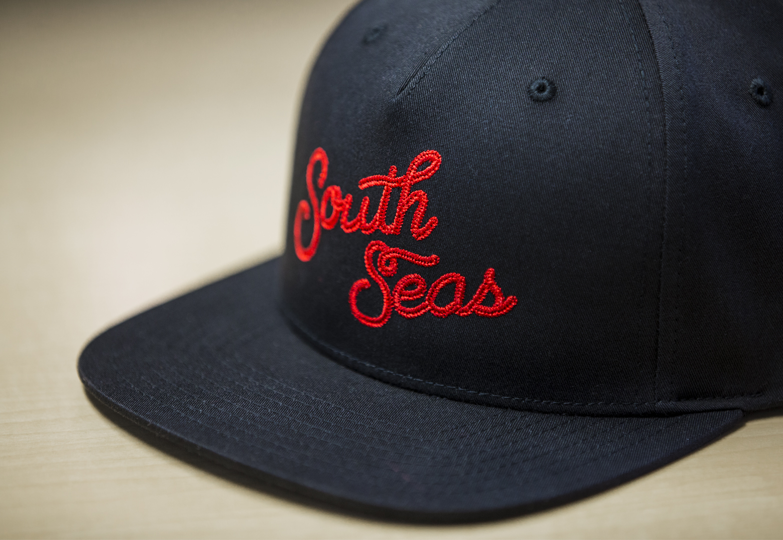 C55-CT // Navy - Pinch Front 5 Panel // Custom Snapback W/ Embroidery