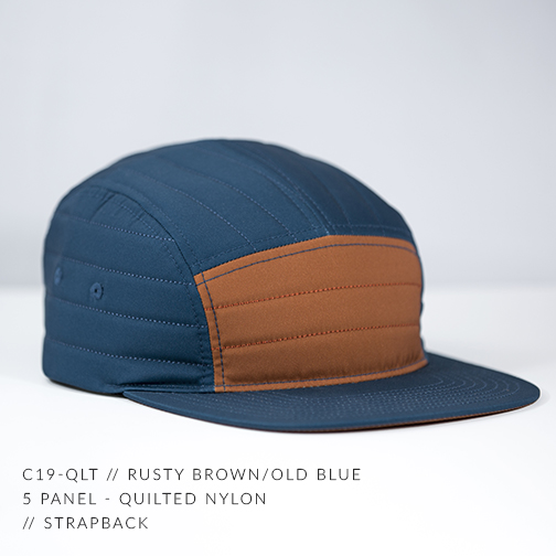 C19-QLT // RUSTY BROWN & OLD BLUE - CUSTOM 5 PANEL - QUILTED NYLON // STRAPBACK