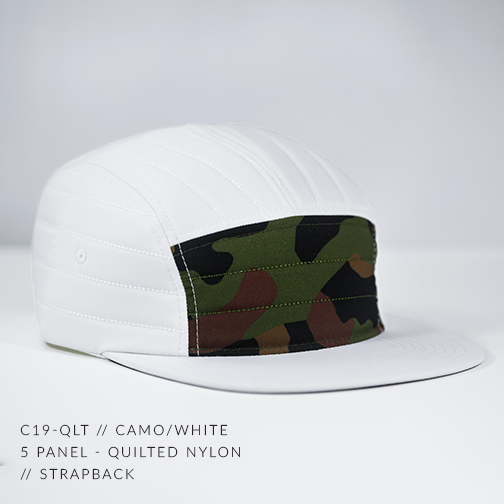 C19-QLT // CAMO & WHITE - CUSTOM 5 PANEL - QUILTED NYLON // STRAPBACK