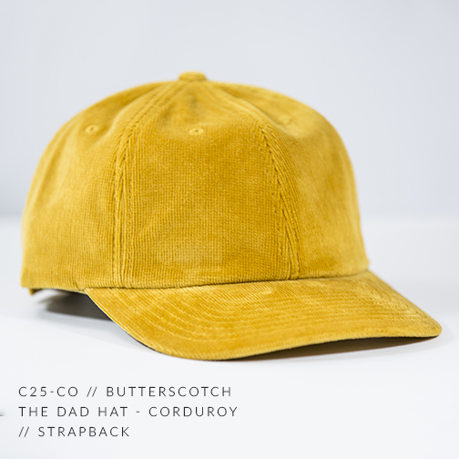 C25-CO // Butterscotch Custom Dad Hat - Corduroy // Strapback
