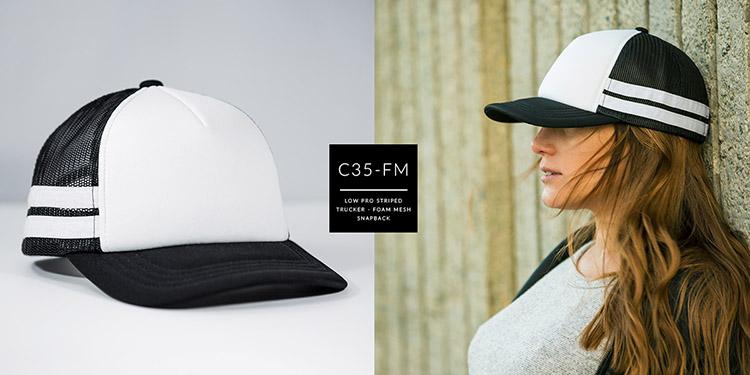 C35-FM // Low Profile Pre Curved Striped Trucker - Foam & Mesh // Snapback