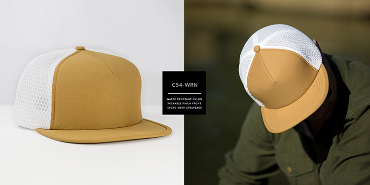 C54-WRN // Pinch Front Hydro Trucker - Water Resistant Nylon & Hydro Mesh // Strapback