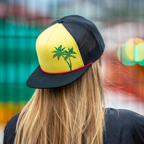 16811301 c54-PRNT // Printed Pinch Front Trucker Hat- Foam & Mesh // Custom Snapback