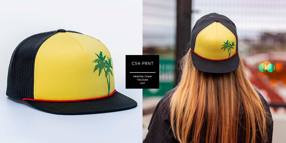 b659e5211 c54-PRNT // Printed Pinch Front Trucker Hat- Foam & Mesh // Custom ...