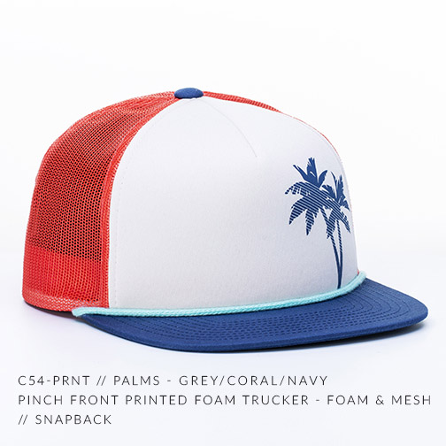 C54-PRNT // PALMS - GREY/CORAL/NAVY