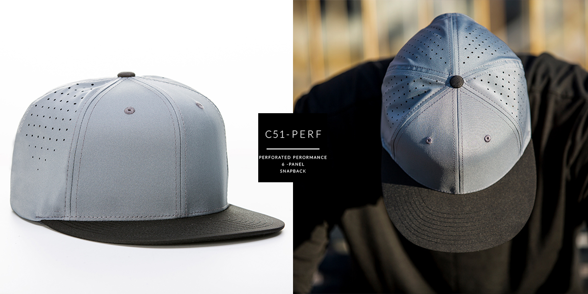 c51-PERF // 6 PANEL - LASER PERFORATED PERFORMANCE // CUSTOM SNAPBACK