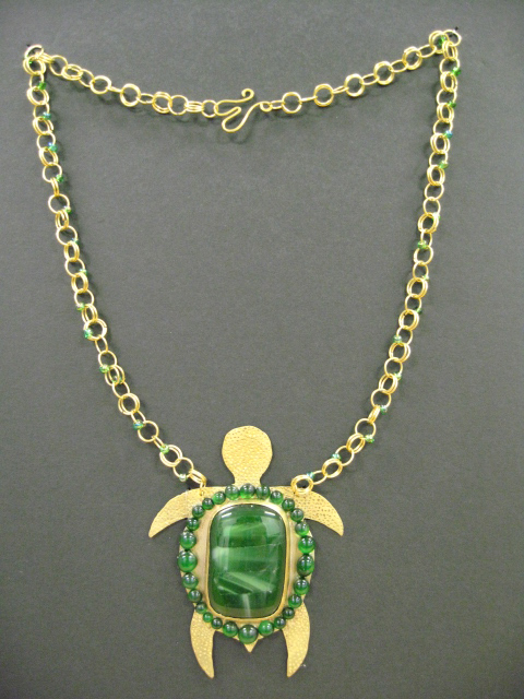 Green Turtle Necklace (Glass Fusion/Brass/Beads)
