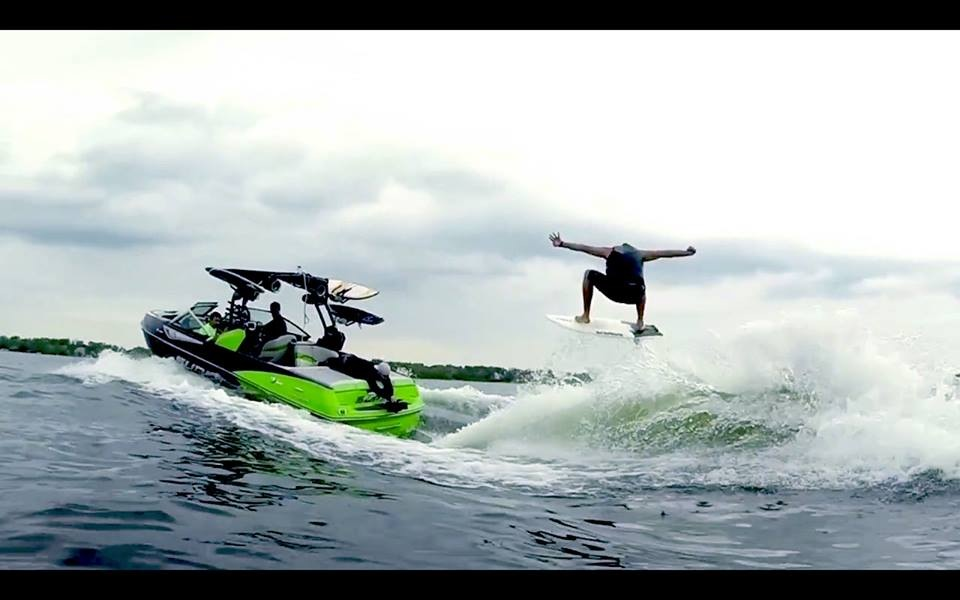 Alex boosting on his custom iDol Surf board behind the Supra w/ Swell Surf System Photo: Matt Hibbing