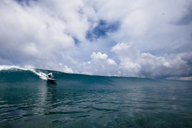 Gerry Lopez taking off on a clean wall somewhere near Punta Mita, Mexico.