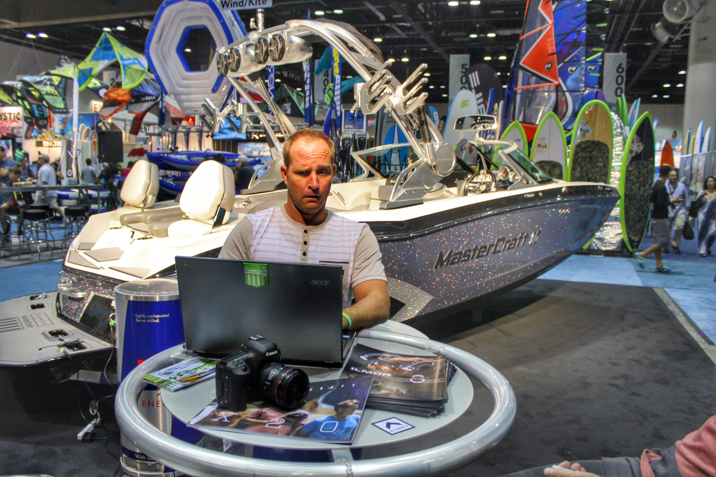 Zane Schwenk grinding at the MasterCraft Booth