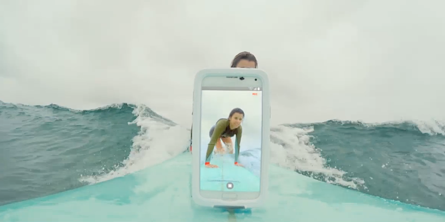 """Selfie-Surfing"" in Verizon's ""It Matters"" Super Bowl XLV commercial"
