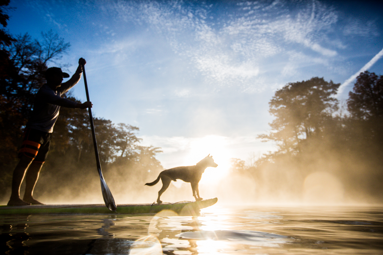 Jeff Archer, YOLOBoard founder, adventure paddle cruising with his dog- Flea