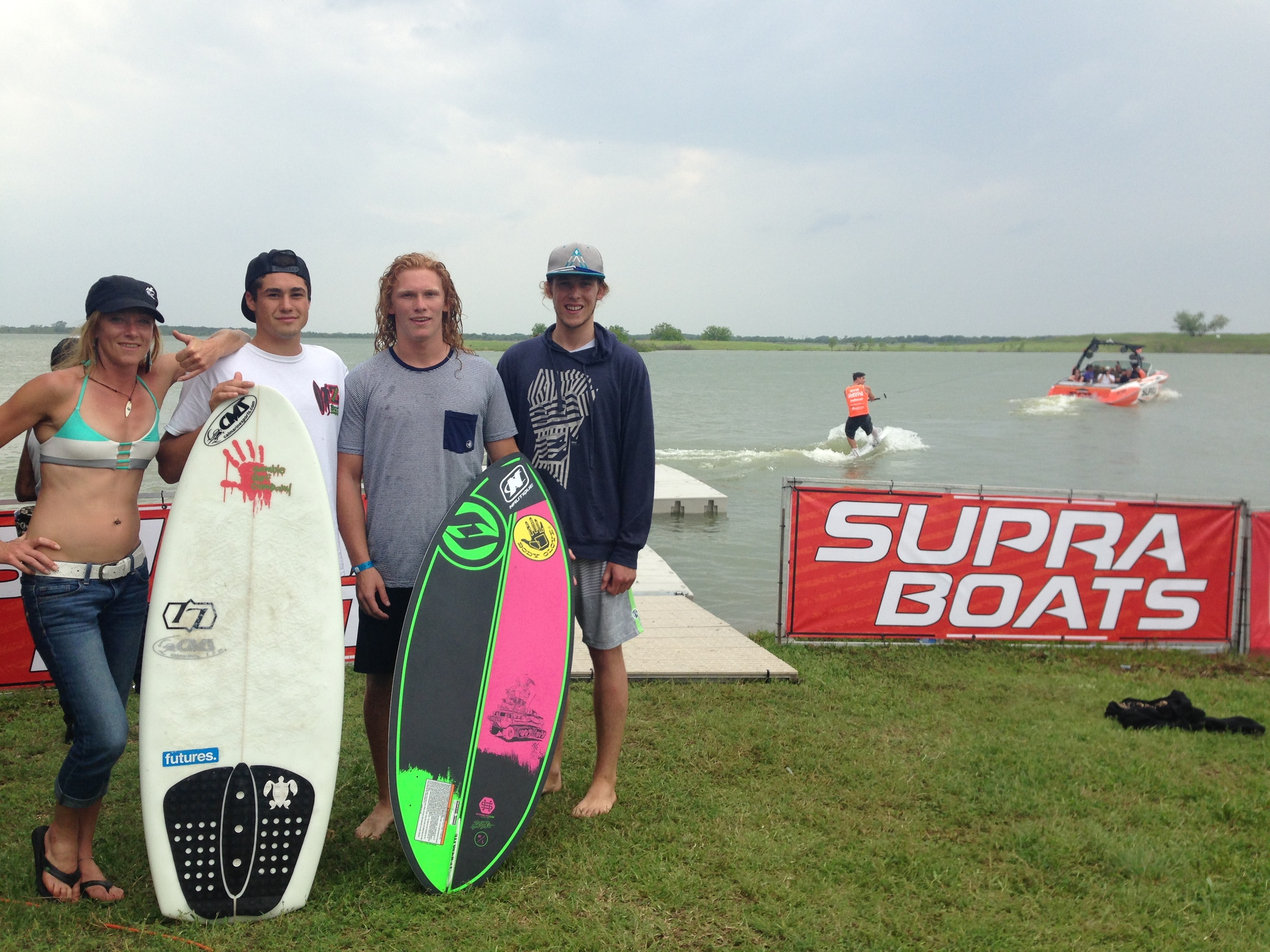 Wake surfers Caroline Villenueve, Chris Wolter, Noah Flegel and Aaron Witherell