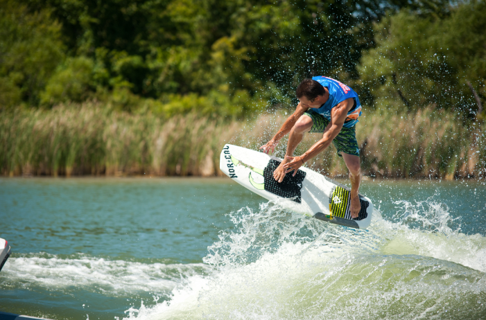 Todd Johnson boosting a backside air at the Endless Wave Tour on his hand shaped board- not too heavy and not too light.