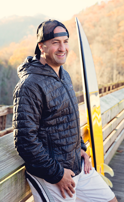 Randy Fisher at the Diagonal Ledges bridge. Photo- Molly Wolfe Photography