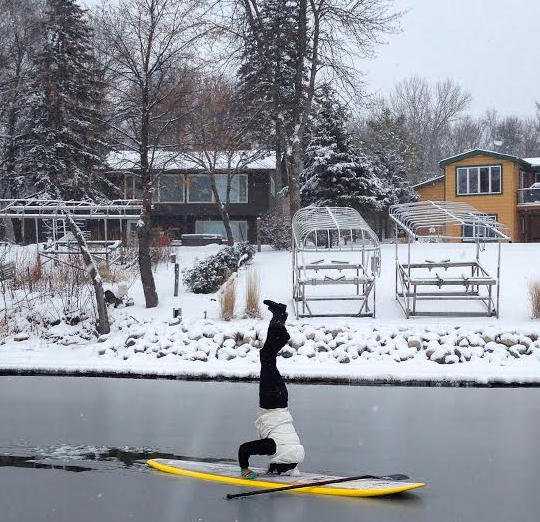 Wintertime Paddleboard Headstand