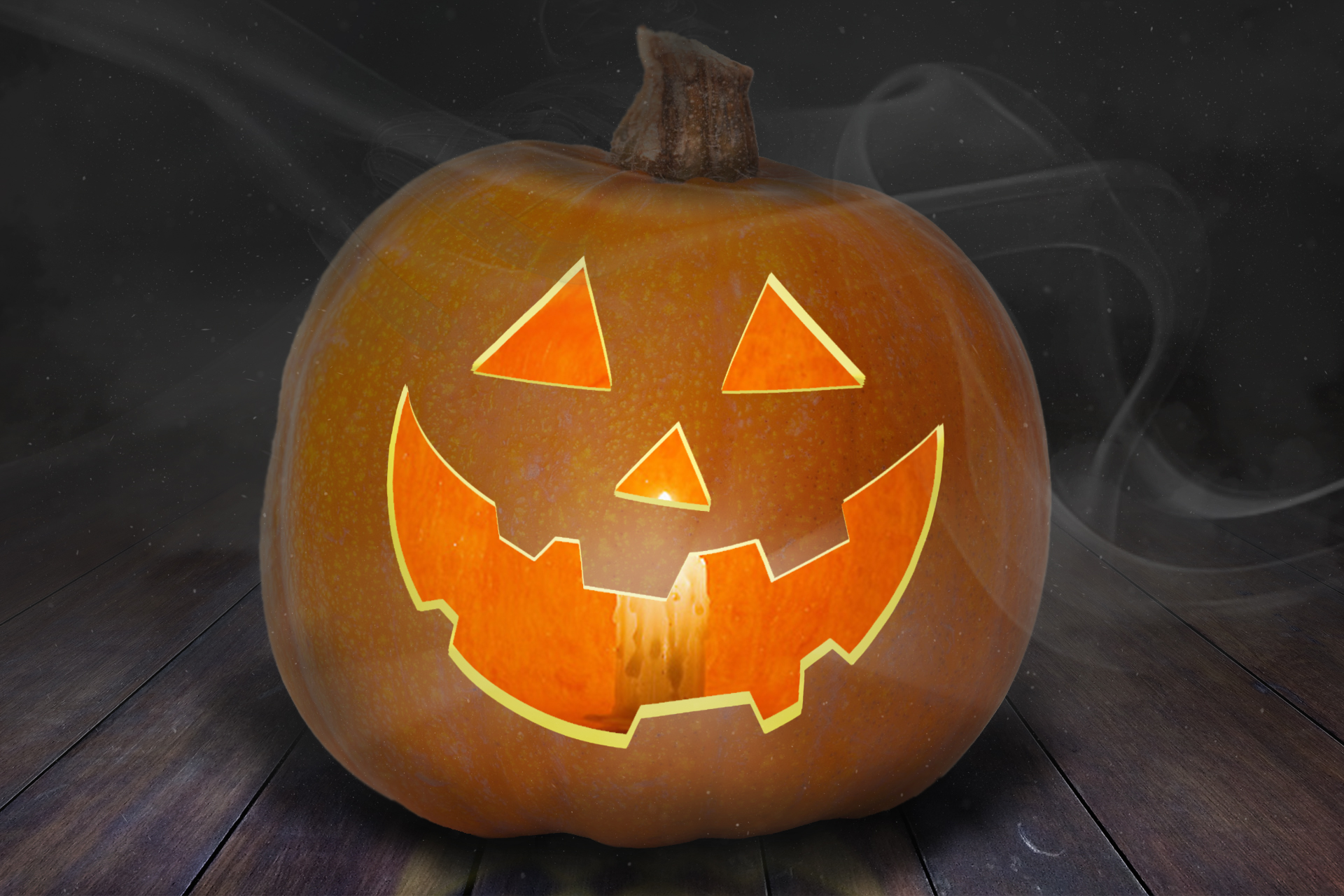 Free Pumpkin Jack-o'-lantern PSD Mock-Up