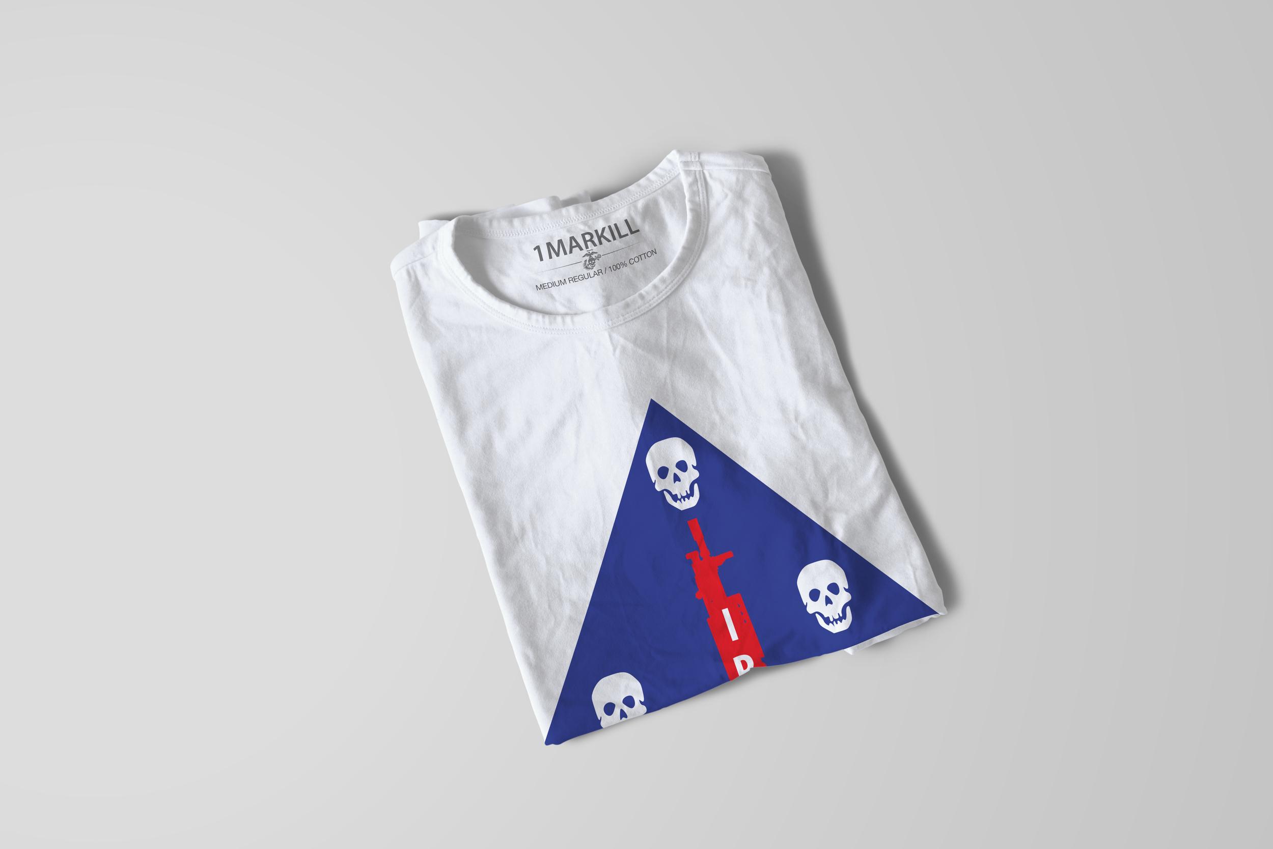 USMC Eagle Skull and Anchor Logo on 1STMARKILL shirt