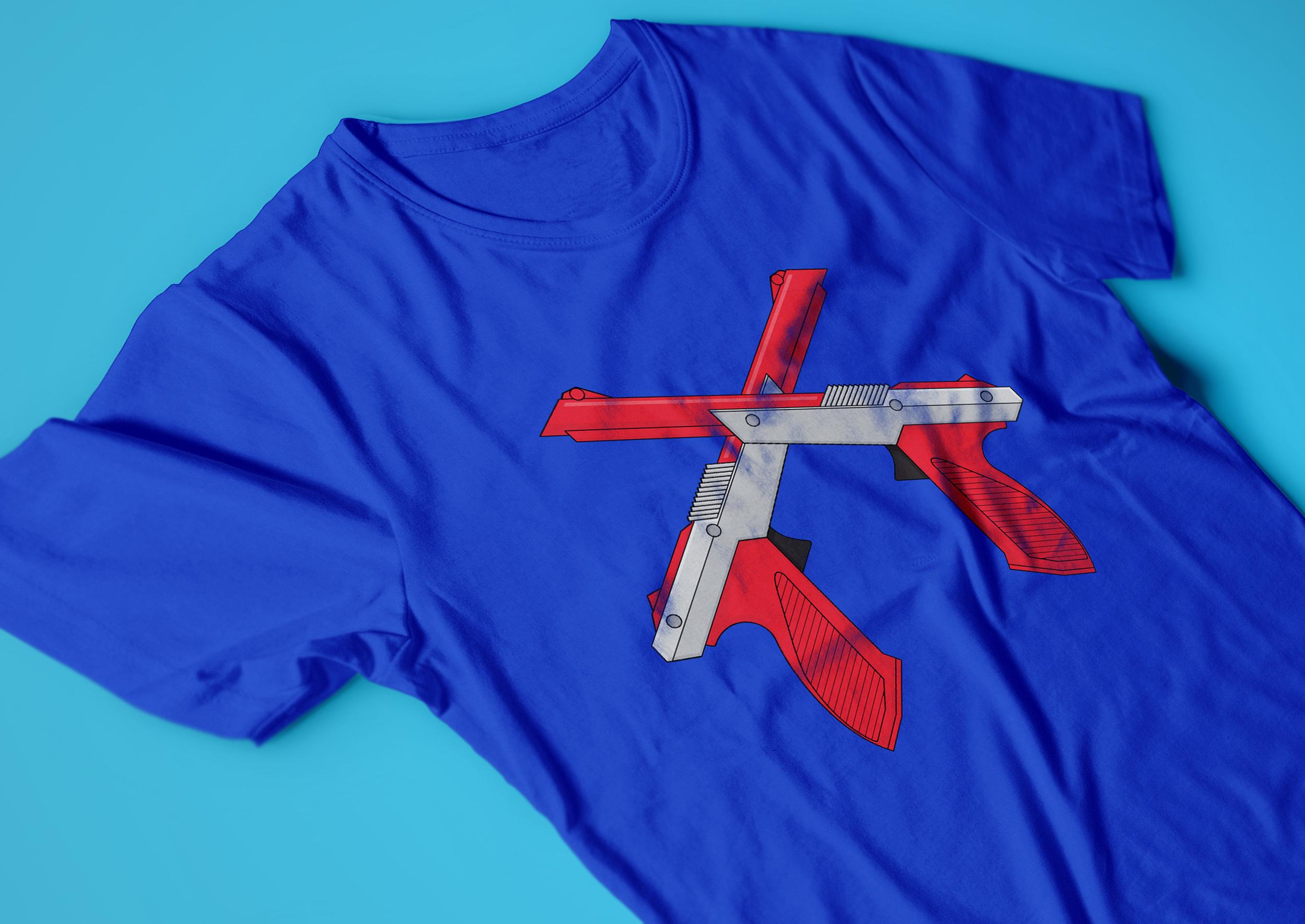 Nintendo NES t-shirt with dueling controller guns