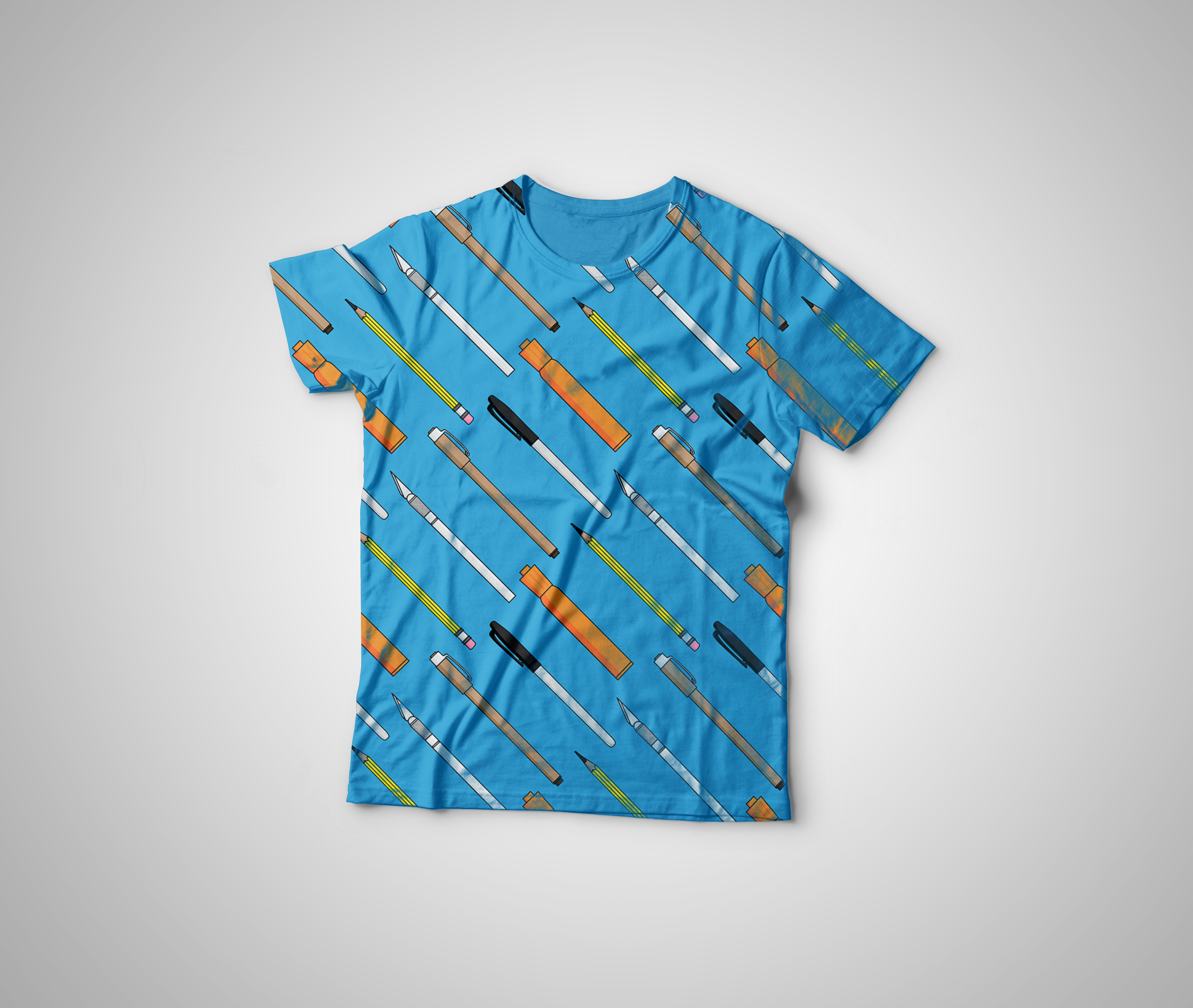 Illustrator Pens Pattern T-Shirt