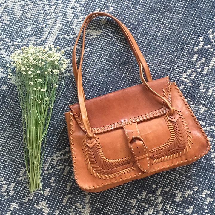 Vintage Brown Leather Shoulder Bag