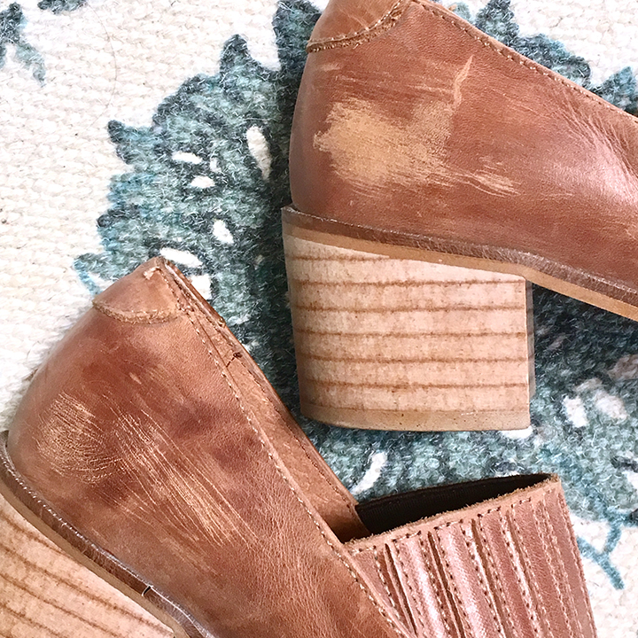 Rare- Free People Tan Distressed Steel Toe Booties