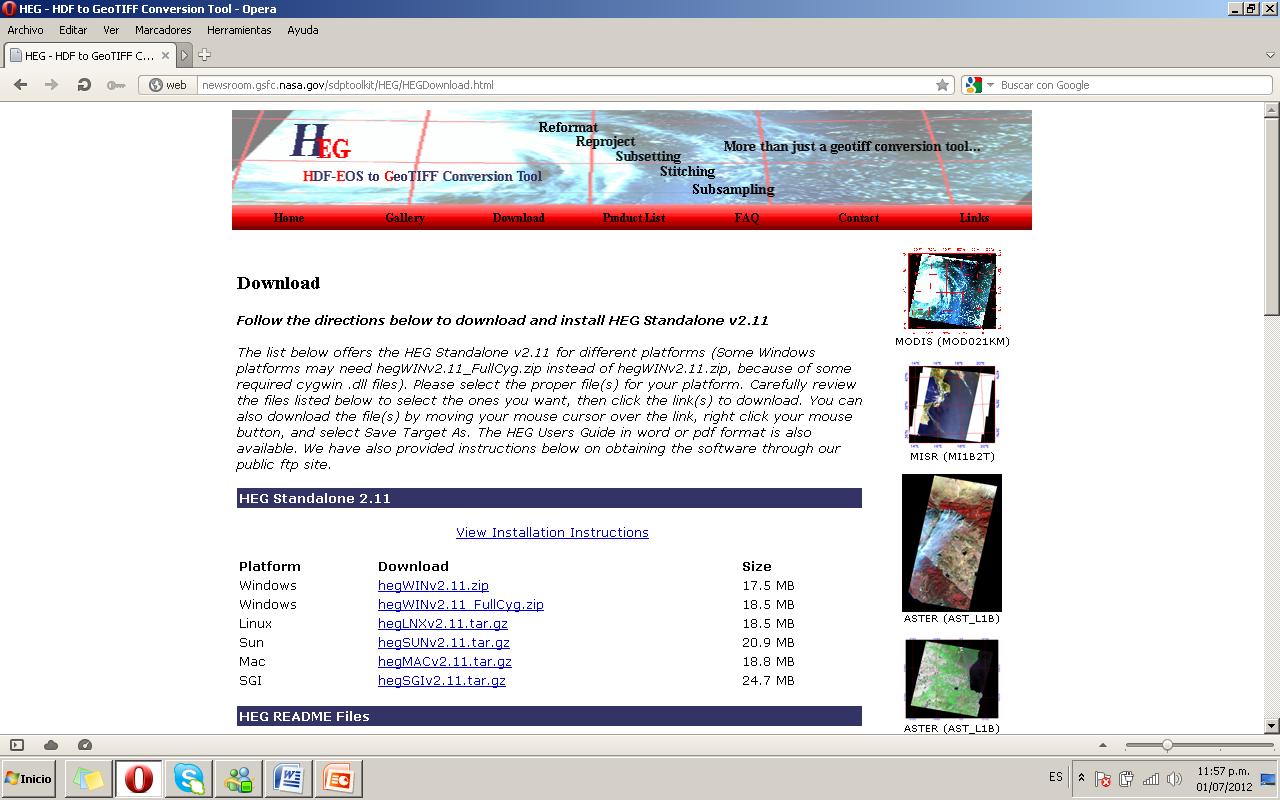 Figura 10. Página de descarga de la herramienta HEG-EOS.