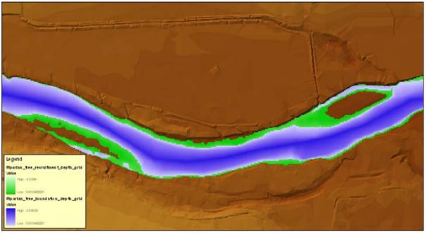 Figura del modelamiento HEC-EFM con las zonas de vegetación estacional y las zonas de inundación del río.