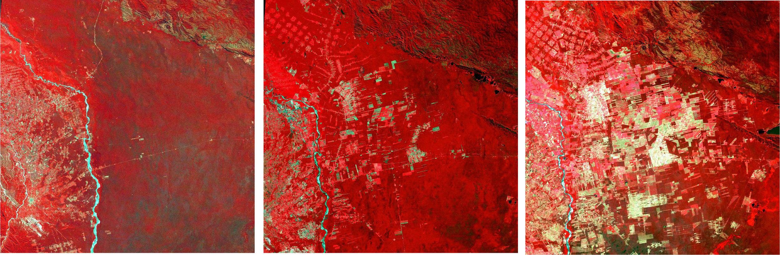 Imagenes Landsat mostrando el impacto sobre los bosques amazónicos.