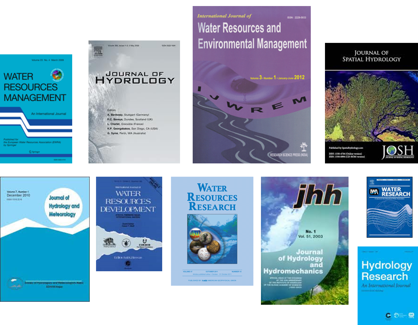 Existe una serie de publicaciones científicas en recursos hídricos, la mayoría en inglés.