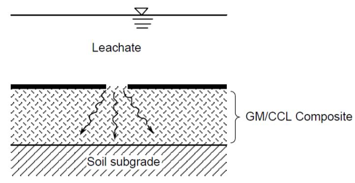 (b) Flujo a través del CCL desde un hueco en la GM
