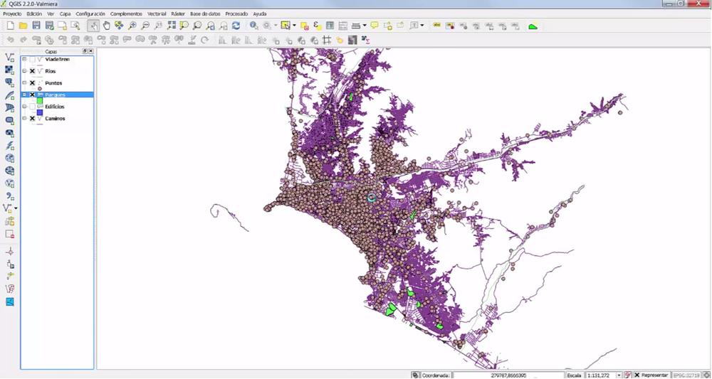 Visualización de la interfase de QGIS