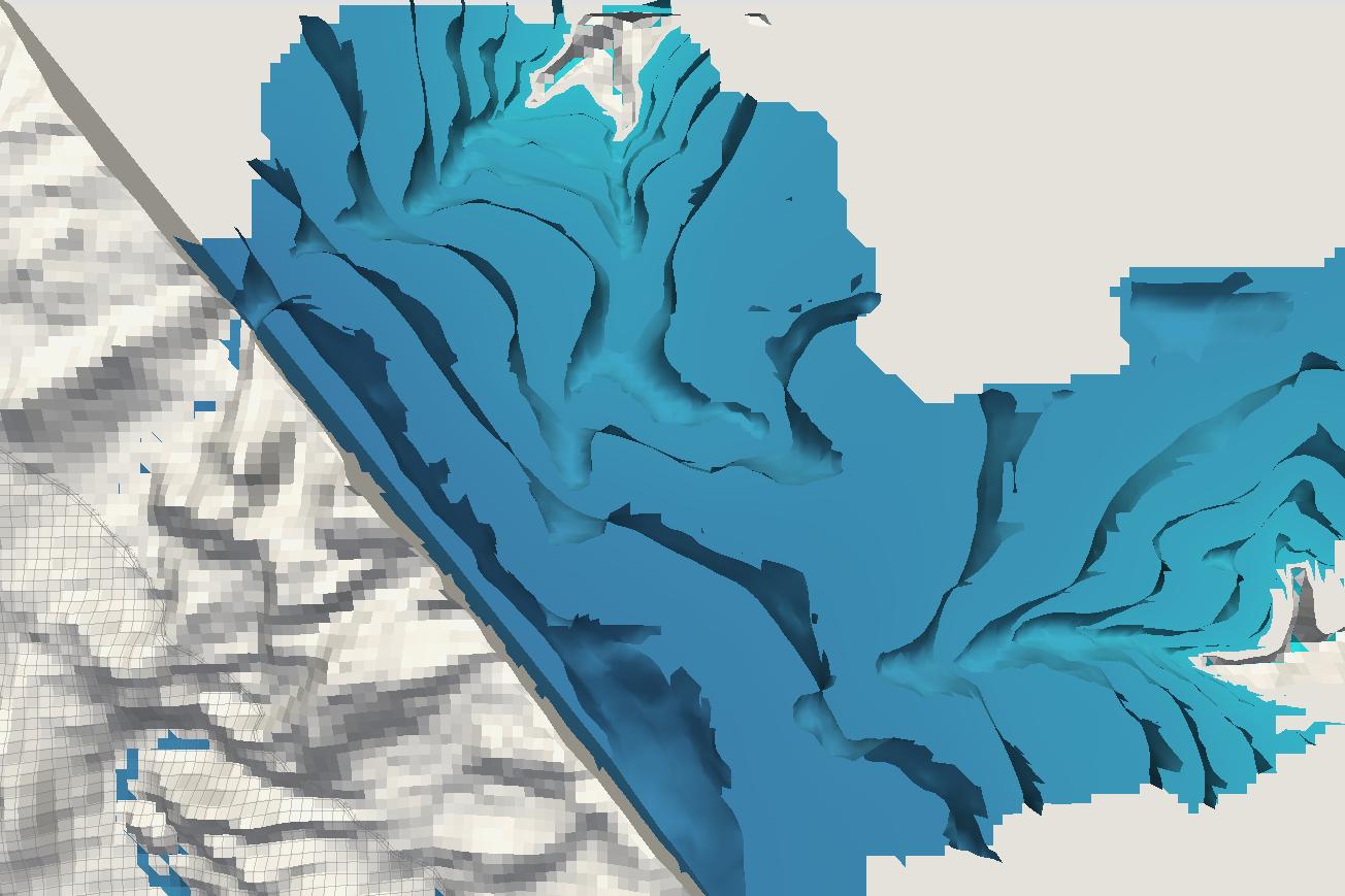 Representación de un modelamiento numérico de una cuenca andina