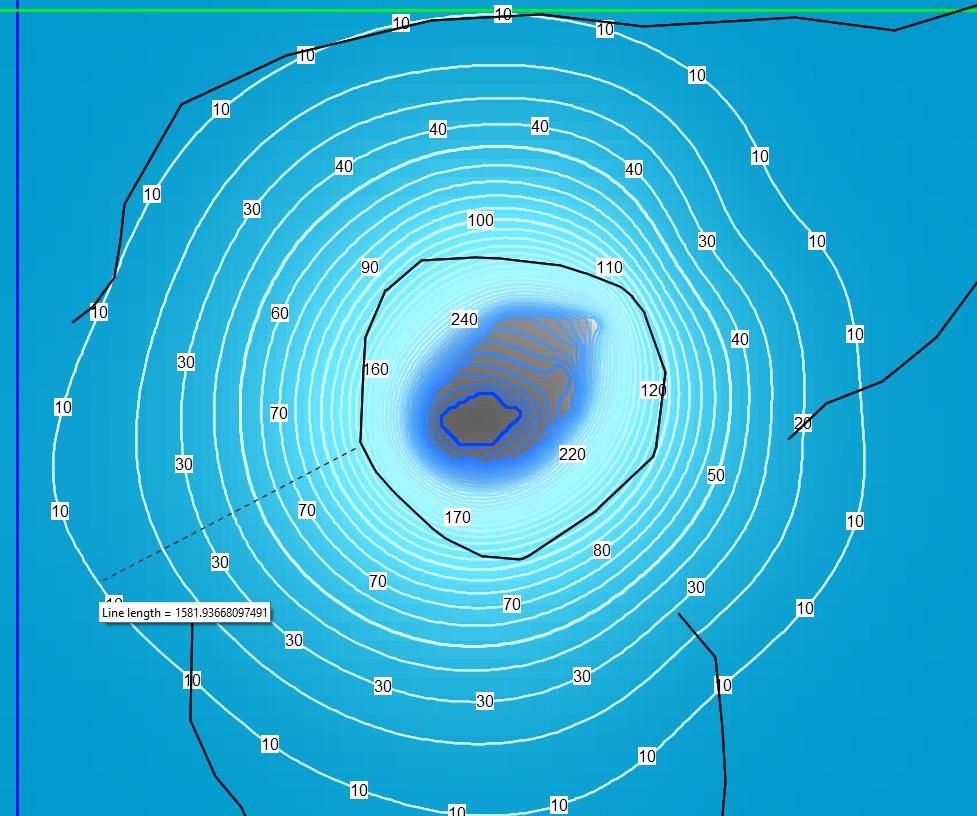 Extensión del Cono de Depresión para un Tajo de 35 años. El alcance del cono de depresión es de 1581 m.