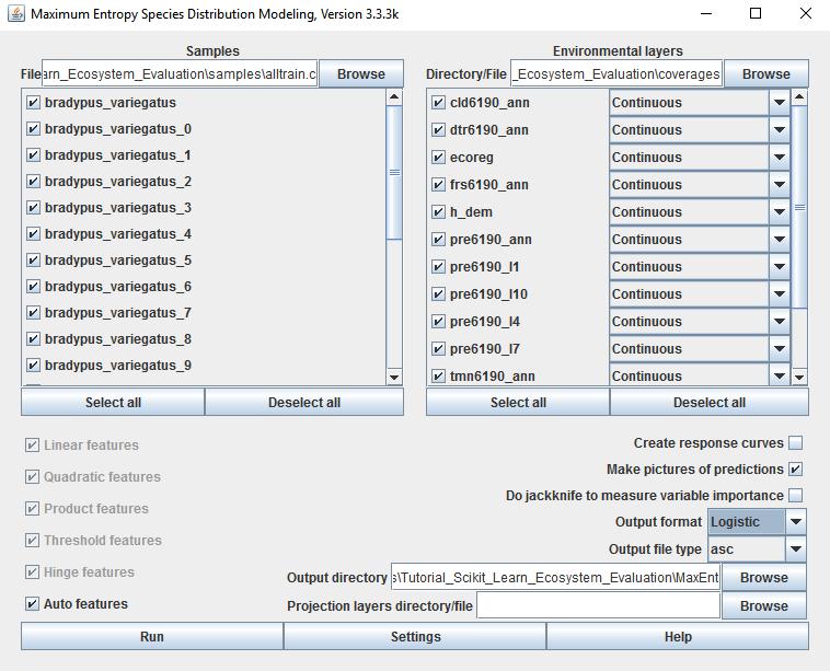 Interfase gráfica del software Maxent con datos de muestro y capas del medio físico