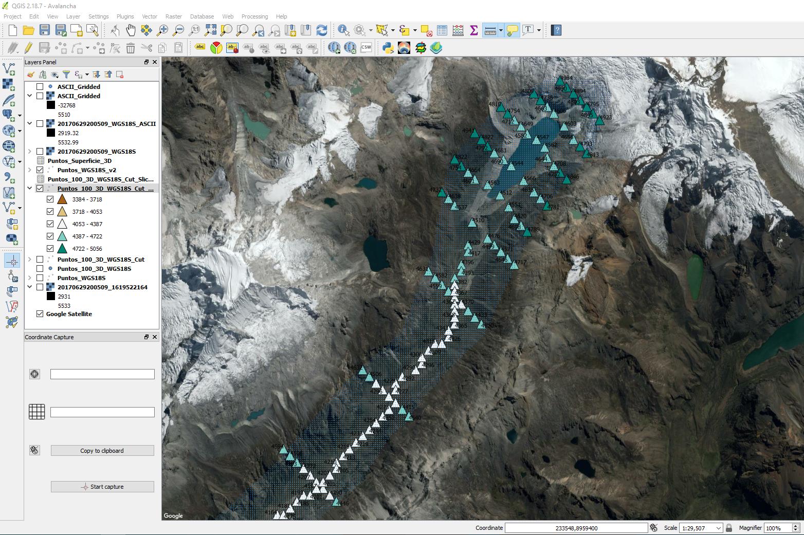 Espacio de trabajo en QGIS para el procesamiento de la geometría del modelo de avalancha